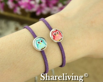 4pcs Bangle Bracelet With 12mm Round Silver  Cameo Setting (Purple) -- RI854S