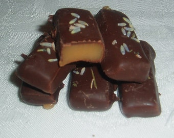 2 Doz Lavender Caramels Dipped in Dark Chocolate and Sprinkled with Lavender Flowers//OR Vanilla Caramels