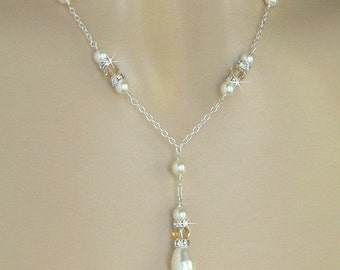 Bridal Necklace - Champagne Crystal and Ivory Pearl Necklace - Y Drop Necklace - Wedding Jewelry by JaniceMarie
