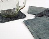 sewn coasters - fish scale and denim