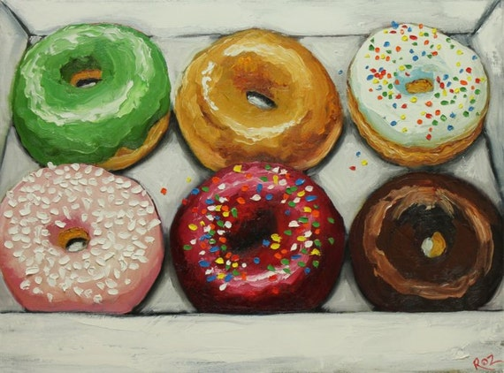 Donuts still life painting 18 18x24 inch original oil painting by Roz