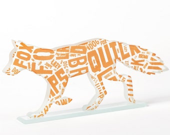 Orange Pangram Fox Sculpture Typography Font Glass