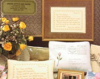 Vintage Cross Stitch Pillow Gram Anniversary