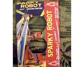 robot switch plate retro vintage 1950's tin toy light switch kitsch outlet cover