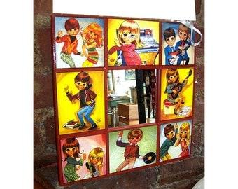 retro big eye mirror vintage 1960's mod Lee sad eye print kitsch