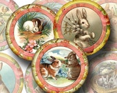 RABBITS Vintage Art 2.5 inch Circles for Pocket Mirrors, Tags, crafts -Printable Collage Sheet-JPG Digital File- Buy ONe Get ONe FREE