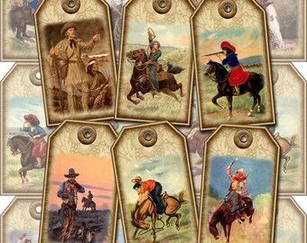 Wild West Cowboy/Cowgirl Vintage Art Hang/Gift Tags/Cards-INSTaNT DOWNLoAD-Printable Collage Sheet JPG Digital File-New Lower Price