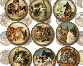KiTTENS CaTS FeLINES- Vintage Art 1 inch Circles for Jewelry, Scrapbooking-Printable Collage Sheet JPG Digital File -NeW LoWER PRiCE