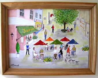 Perfect Plaza  - Original 16 x 12 Urban Naive Figures Folk Art Painting by Fran Caldwell