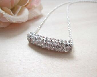 Bridesmaid necklace  Bridesmaid gifts Bridal jewelry Bridesmaid rhinestone necklace Wedding jewelry
