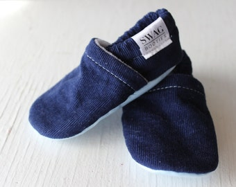 Corduroy Baby Booties boy girl toddler slippers shoes soft soled non slip SWAG Navy Blue newborn gift