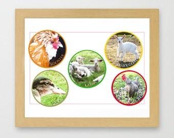 Nursery art print farm country animals