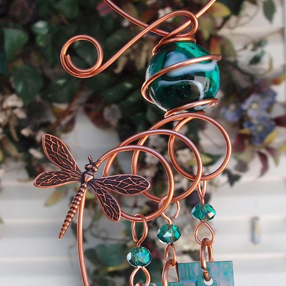 Dragonfly Wind Chimes Copper Garden Art Sculpture Stained