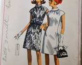 Vintage 60's Sewing Pattern Butterick 4549 Dress  Bias Collar Bust 34 inches Complete
