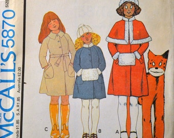 Vintage Sewing Pattern McCall's 5870  Girls' Coat Capelet Hat Muff   Size 6 Uncut Complete