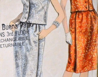 Vintage 1960's  Sewing Pattern Vogue 5720 Misses' Evening Dress Bust 34 inches Complete