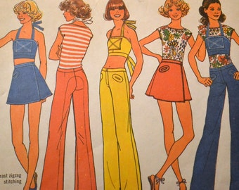 Vintage 70s Sewing Pattern Simplicity 7495 Halter Top Hip Hugger Pants Bust 28 to 30 Inches  Complete