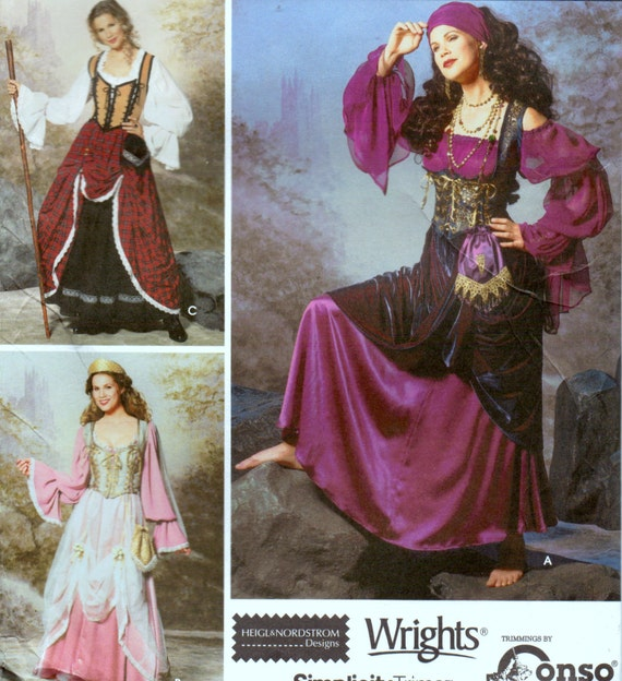 Sewing Pattern Simplicity 9966 Misses' Pirate Gypsy  Costumes Sizes 8-16 Uncut Complete FF