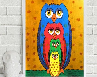 """Owl-Group..... original painting, acrylic on paper, 9,3x6,5"""", 23,5x16,5 cm, fantasy, abstract, owls, bird"""