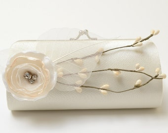 Ivory Bridal Clutch or Bridesmaid Clutch - Rustic Cottage Country Woodland - Shabby Chic Bouquet Clutch