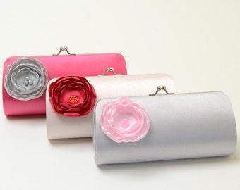 Bridal Clutch Bridesmaid Clutch - Silver Pale Pink & Fuchsia - Petite Flower Bloom - Bridesmaid Gift