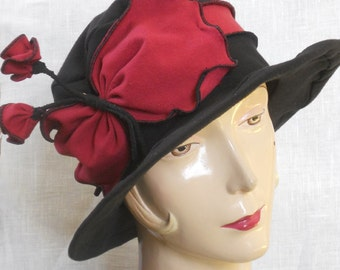 Ladies Travel Hat - Organic Jersey - Mary Poppins Hat- Black and Red - Mary