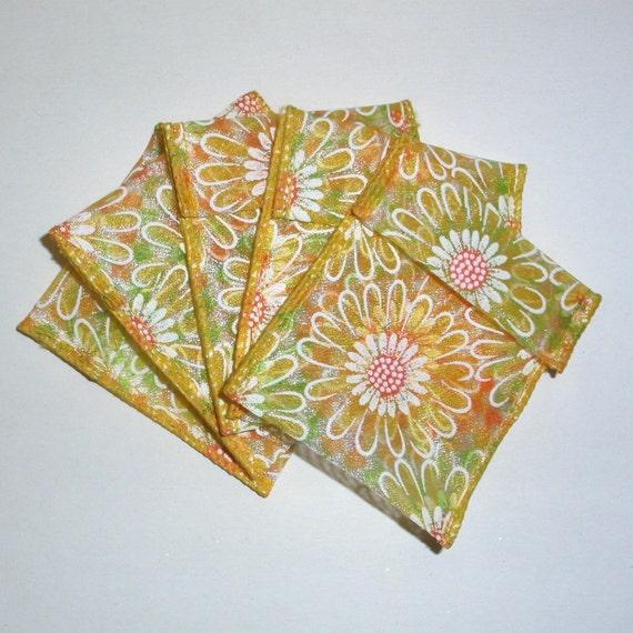 Jewelry Bead Pouches - 10 Yellow Daisy - Ribbon