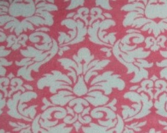 "Minky Fabric....Pink and White Dandy Damask Minkee by Michael Miller...sold by the yard 60"" long"