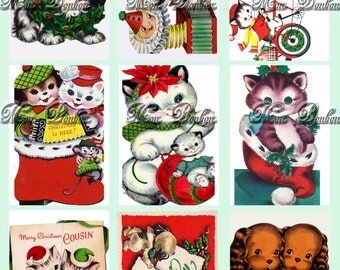 Digital Collage Sheet of Vintage Retro Christmas Puppies and Kittens - DIY Printable - INSTANT DOWNLOAD