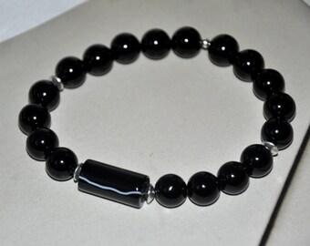 Men's Bracelet, Black Onyx Bracelet,Masculine Bracelet, Mens Black Bracelet,Man Gift, Tough Guy, Strength
