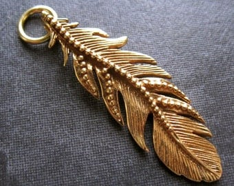 Dotted Feather - Vermeil - Gold Plated over sterling silver - 36mm X 11mm