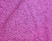 Black Dot on Deep Pink Cotton Flannel Fabric  1 - 3 yards