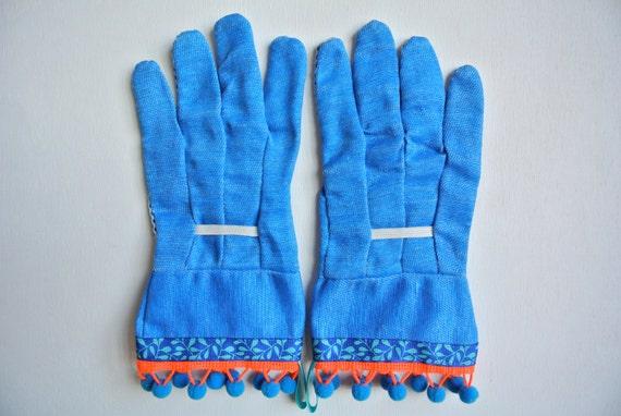 Designer Garden Gloves - As seen in Better Homes and Gardens DIY Magazine - Leaves, Neon Orange and Blue Pom Poms