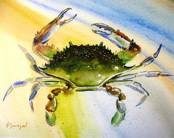 Blue Crab Watercolor Coastal Beach Decor Maryland Delaware New Jersey Chesapeake Bay Art Print 8X10 or 11X14 by Barry Singer