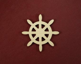 Captain Ship Wheel Shape Unfinished Wood Laser Cut Shapes Variety of Sizes