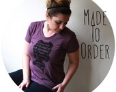 """Jane Eyre Quote """"I am no bird..."""" Women's Fitted Tee in Heather Plum. Made To Order"""