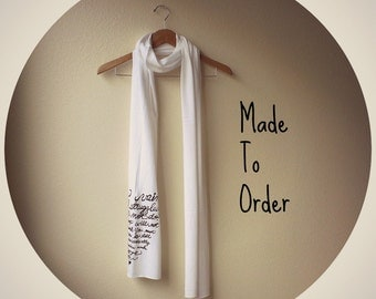 "Pride and Prejudice Scarf - Book Scarf - Jane Austen Quote ""In vain have I struggled"". MADE TO ORDER"