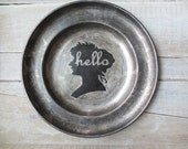 Hello Sign // French Country Decor // Silhouette // Vintage Shabby Sign // Primitive Decor // Victorian Wall Decor // TARNISHED Silver Tray