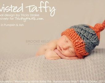 Baby Boy Hat Newborn Photography Prop Twisted Taffy Chunky Topknot Beanie original design by TrickyKnits