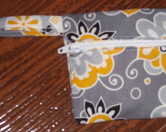 yellow and grey floral coin pouch with swivel hook