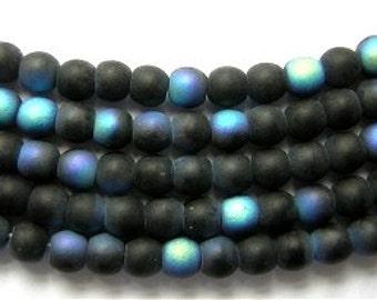 50 Czech Glass Beads Pretty BLACK AB GHOST 4mm
