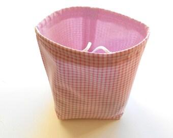 Reversible Drawstring Knitting bag or small project bag Kip bag pink and white check and dots