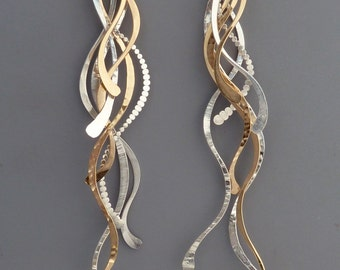 Extra long sterling silver and gold filled feather like earrings, Rachel Wilder Handmade Jewelry