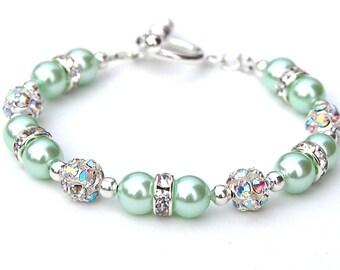 Mint Green Jewelry, Mint Green Bracelet, Mint Green Wedding, Green Bridesmaid, Mint Jewelry, Spring Wedding, Pastel Wedding, Under 30