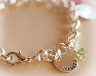 Additional personalized round disc/birthstone charm for Mother/Grandmother bracelet