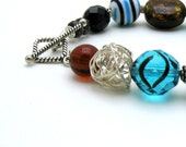 Teal Blue and Brown Boho Beaded Bracelet Bohochic Boutique Wearable Art Sterling Silver Chunky Bohochic