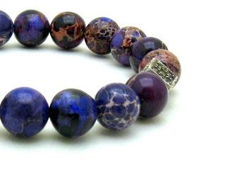 Purple Jasper Sterling Silver Modern Beaded Bracelet,  Marcasite  Aqua Terra Jasper, Natural Stone, For Her Under 140