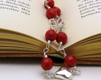 Red Jade Sterling Silver Wire Wrapped Bracelet, Delicate Bracelet, Romantic Heart, For Her Under 130