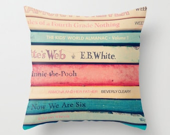 decorative pillow cover-home decor-art pillow-books-photography-vintage books-pink-blue-dorm room decor- back to school