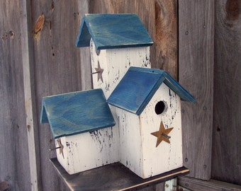 Primitive Country Condo Birdhouse White and Blue Three Nesting Boxes